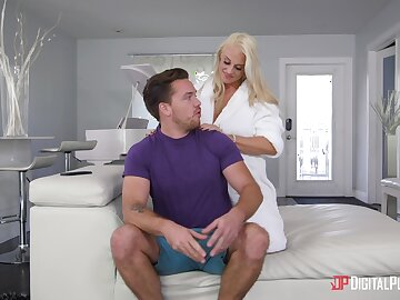 Busty blonde Paris Paladin moans helter-skelter pleasure from sex on dramatize expunge sofa